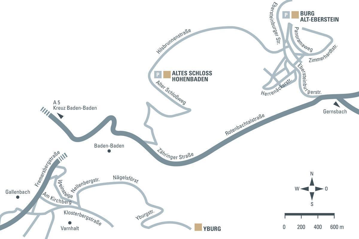 Anfahrtsskizze zu den drei Burgen um Baden-Baden