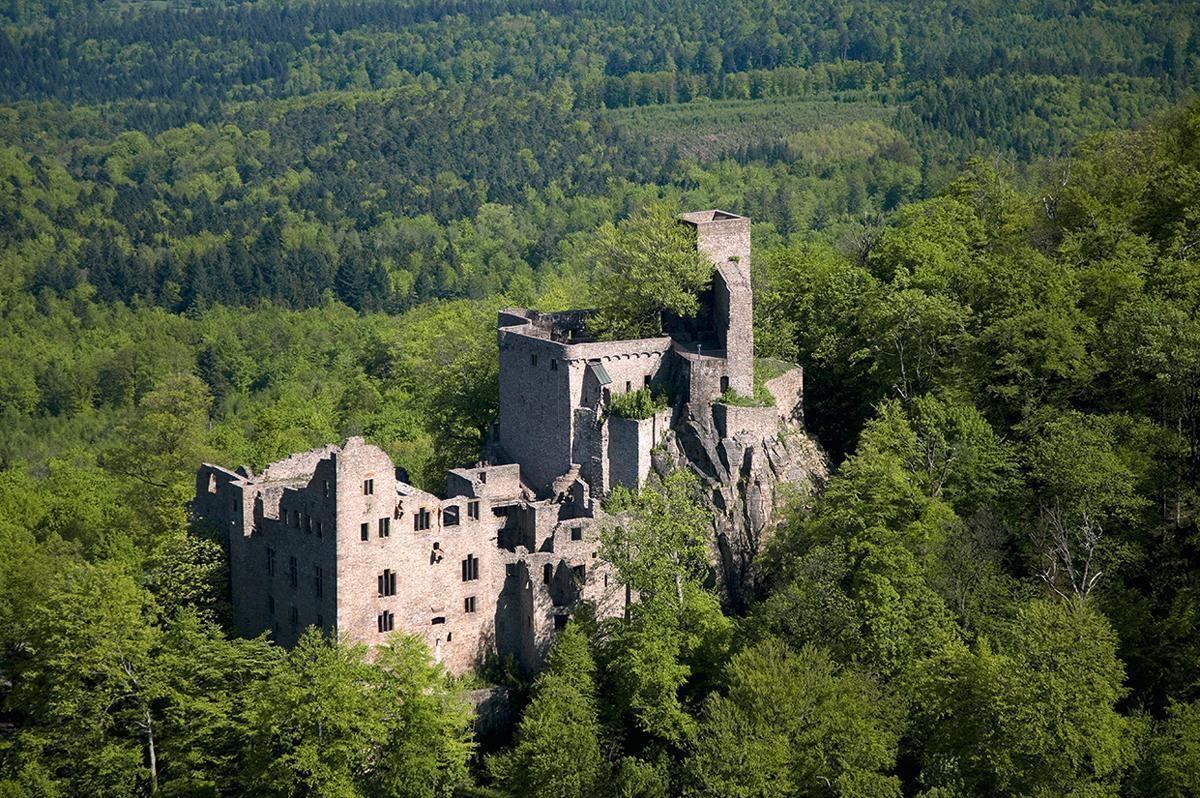 Luftbild des Alten Schlosses Hohenbaden