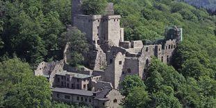 Luftansicht des Alten Schlosses Hohenbaden