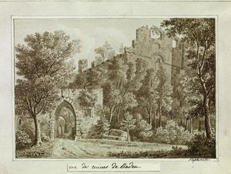 Tuschezeichnung der Burg Hohenbaden von Großherzogin Stephanie von Baden um 1830