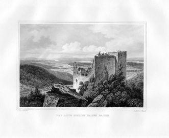 Altes Schloss Hohenbaden, Stahlstich von Johann Poppel